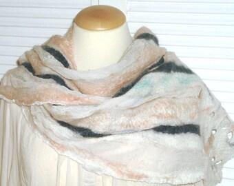 Elegant scarf, silk chiffon, Merino Nuno
