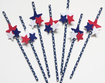 Red, White, & Blue Stars straws USA America 4th of July Memorial Day party supplies Set of 12