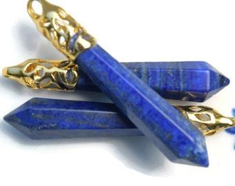 Blue crystal pendant | blue healing crystal | Lazurite point crystal pendant with gold bail | lasurite point pendant | Reiki stone | GC241