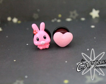 "Pink bunny and heart mismatched plugs for gauged ears 13mm 1/2""  sweet lolita kawaii"