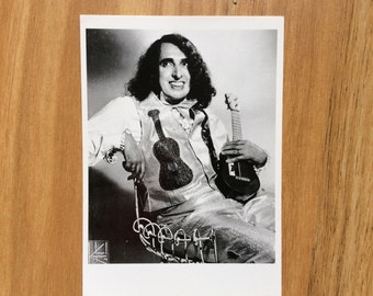 Tiny Tim with ukulele B&W postcard from early 1990s