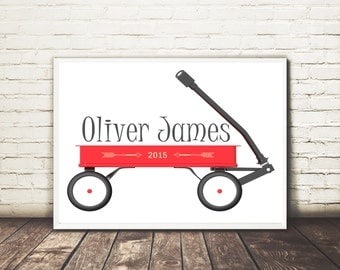 Personalized Red Wagon Print, Name Print, Classic Wagon Print, Dated Print, Baby Gift, Nursery Art, Play room, Instant art print, 8x10