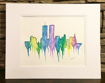 Twin Towers NY Skyline Watercolor - Art Print 11x14