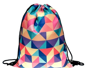 Colorful Geometric All Over Print Drawstring Backpack