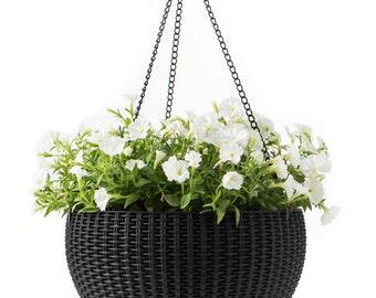 Hanging Sphere Planter. Rattan Style.Large hanging plant. Hanging basket.
