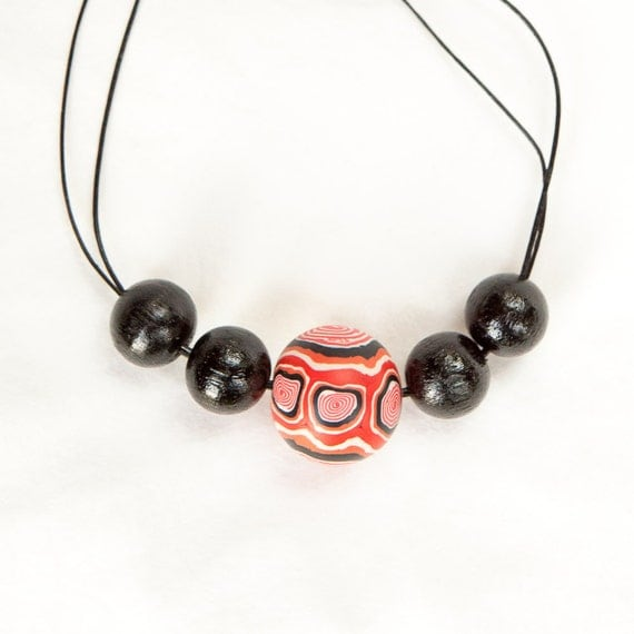 Polymer necklace, necklace, jewellery, wood necklace, polymer clay, statement, red, red and black. wood beads, chunky beads, bold, retro