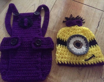 crochet minion hat and overalls set, baby girl minion outfit, baby boy minion outfit