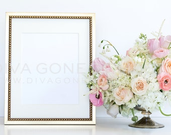 Styled Stock Photography Blush Pink Ivory Cream White Flowers Gold Frame for Graphic Designers Stationery Product Mock Up