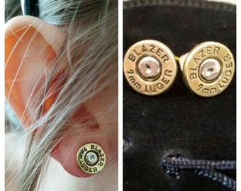 9mm pistol bullet Earrings **UK SELLER, free postage**