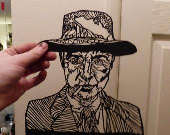 Robert J. Oppenheimer portrait. Handcut paper