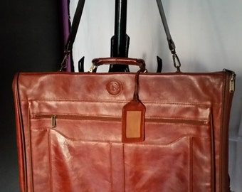 Vintage 1990's BARRY SMITH Brown Leather Garment Bag