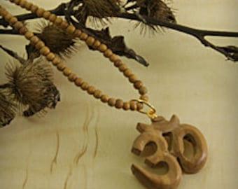 Necklace Handmade OM Wooden Necklace