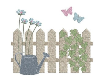 Garden Fence machine embroidery design