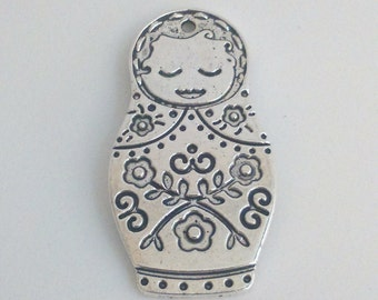 Silver russian doll pendant 42 mm charm findings supplies, necklace pendant, double sided, russia doll, matryoshka doll, babushka