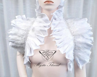 White  shrug bolero with white feathers-gothic bolero-victorian bolero-shrug bolero-ruffle bolero-feathered bolero-ruff bolero
