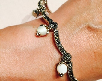 Sterling Silver Art Deco Style Bracelet with Marcasite and Mother of Pearl / Vintage Sterling Silver Jewelry