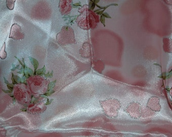 """Pink Floral and heart satin fabric - 44"""" x 62"""""""