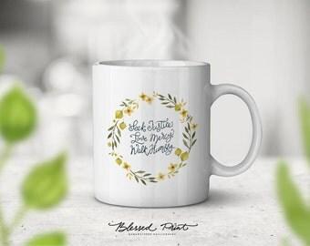 Seek justice, Love.. Micah 6:8 ceramic TEA MUG, 11oz, unique glossy mug gift, unique tea mug gift by Blessed Prints pink peonies vintage mug