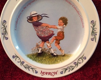 """1986 Sarah Stilwell Weber """"MARCH"""" a Newell Pottery Limited Edition Collector Plate"""