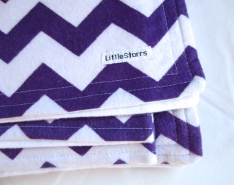 Purple and White Zig Zag / Chevron Flannel Baby and Childrens Blanket