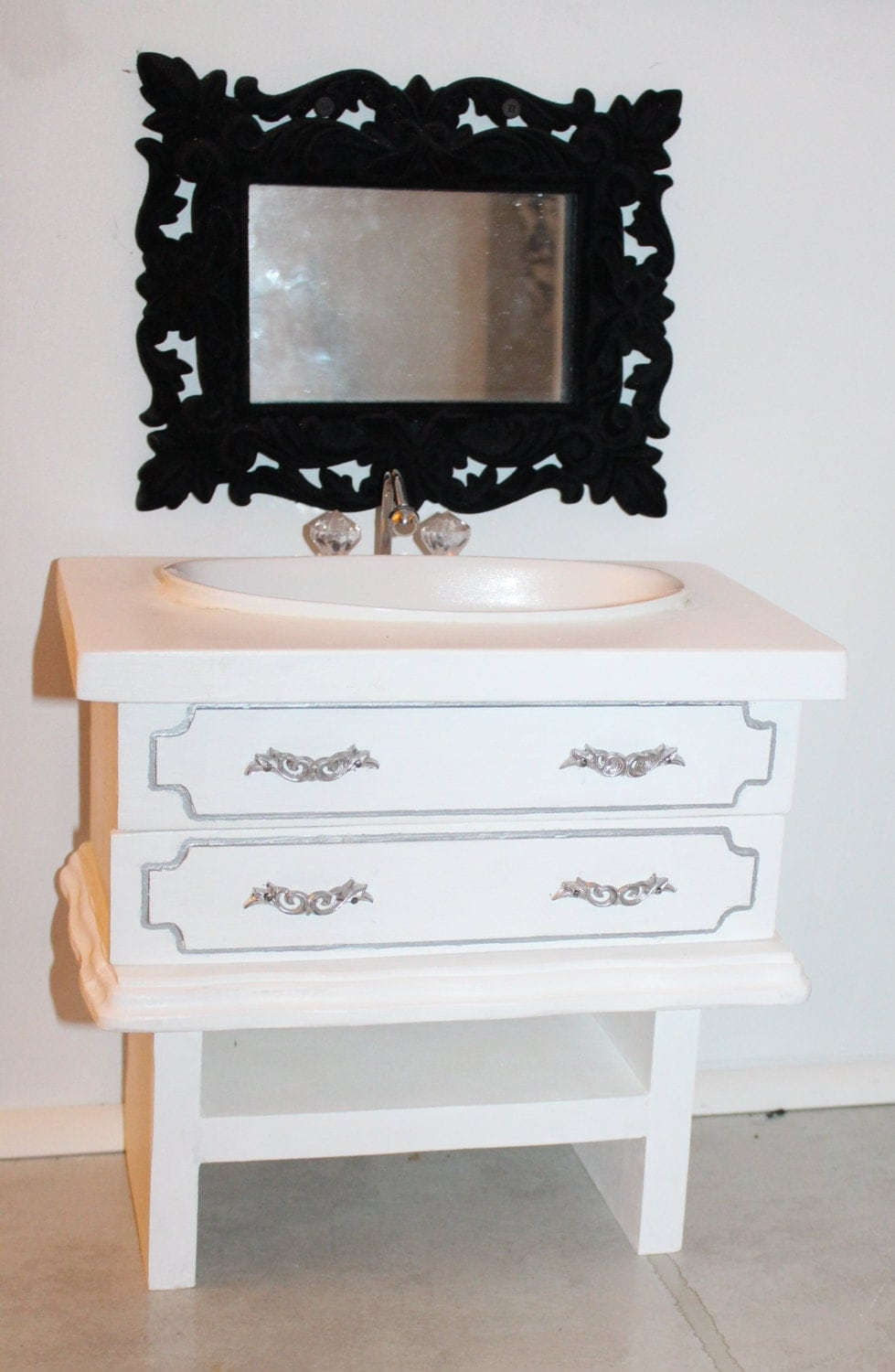 18 Inch Vanity With Sink : White Bathroom Sink Vanity Handmade 18 inch by MadisDollHouse