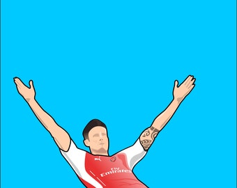 Giroud Celebration Illustration A4 Poster