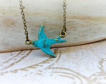 Rustic blue bird necklace , Flying birds jewelry , Verdigas patina swallow birds necklace gift