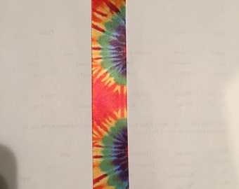 Red tie dye ribbon-sold by the yard