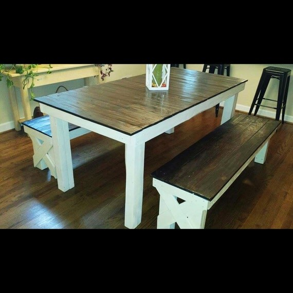 Rustic Farmhouse Dining Table Kitchen With Two