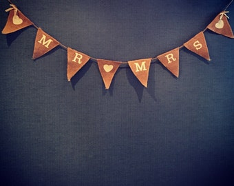 "Vintage photo props ""Mr & Mrs"" hand stamped hessian wedding/engagement bunting, vintage wedding accessories"