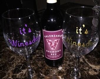 it's winesday wine glass,Custom wine glass, funny wine glass, gifts for her,Cute wine glass,Wine glass personalized Its Winesday