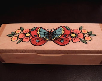 Butterfly and Flowers casket, Old School, Carved