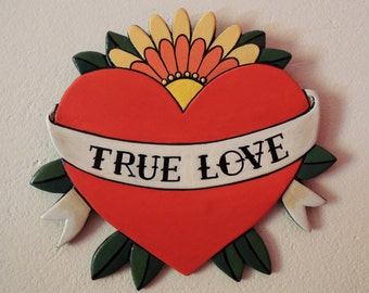 True Love, Heart with Flowers, Old School Handmade