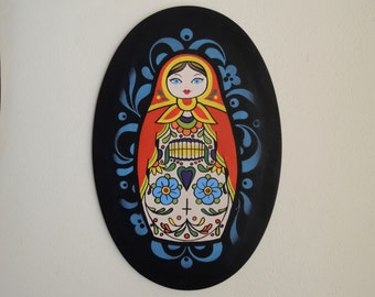 Matryoshka in skull dress, floral background -  Old school, handmade, hand painted