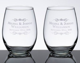 Set of 2 Stemless Wine Glasses -Scroll Name (G110 SN)