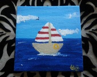 Striped Sail Boat Mini Canvas Painting