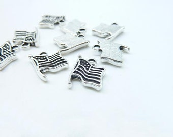 Flag Charm-30pcs 9.5x12mm Antique Silver Lovely Flag Of The United States USA Flag Charm Pendant c8001