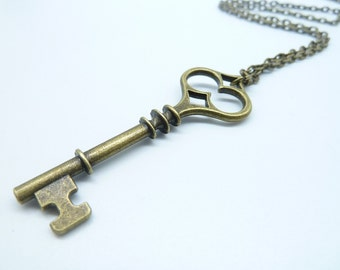 Promotion-1PCS Bronze Key Necklace / Brass Key Necklace / Fantasy Key Necklace / Key Jewelry / Key of Love CN1431-2
