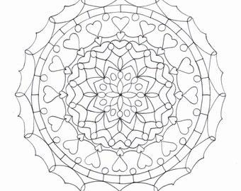Adult Colouring Page - Heart Mandala 2
