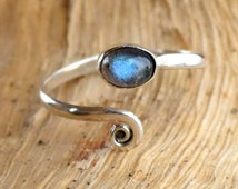 Silver Toe Ring, Adjusable Toe Ring, Labradorite Toe Ring, Foot Accessories, Foot Ring, Stone Toe Ring, Band Toe , Foot Jewelry