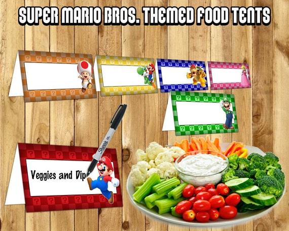 Super Mario Food Tent Cards Super Mario Bros. Food Tents instant download print Mario Brothers Birthday Decoration Mario Place Holder Card