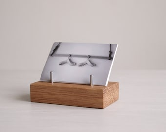 Wooden Business Card Stand made from Oak, for Horizontal or Vertical Business Cards   Desk   Exhibitions   Craft Fairs   Office