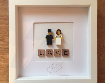 Wedding Gift - Lego Bride and Groom Picture Frame - Personalised Gift