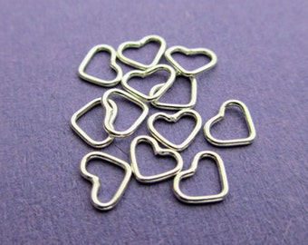 New 6mm 22ga 925 Sterling Silver Heart Shaped Closed Jump Rings. 12pcs.
