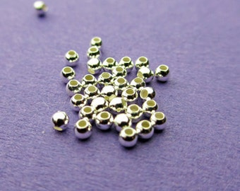 New 2mm 925 Sterling Silver Round Spacer Beads 50pcs