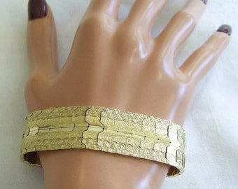 "STUNNING Bold Heavy Solid 14K Yellow GOLD 3/4"" Wide 7.5""L Unique Link BRACELET 34.8 grams  *Free Shipping*"