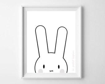 Nursery Illustration, Animal Print, nursery print, Black and White, Nursery art, kids decor, nursery decor, Baby wall art, printable, gift