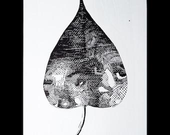 "Original woodblock print, ""Das folhas 3"""