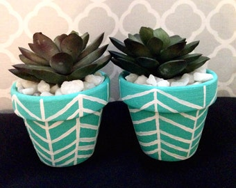 Cute mini blue and white herringbone planters with succulents: handpainted terracotta pots set of 2