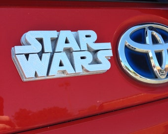 Fanart 3D printed silver Star Wars car decal/logo/magnet, great gift for nerd girl or boy